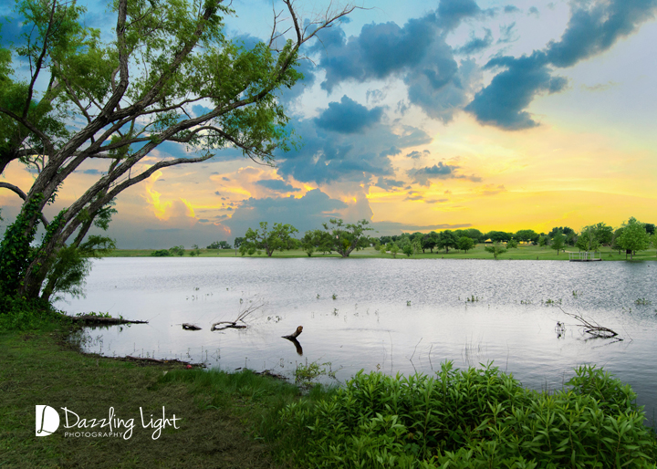 Old Settlers Park lake sunset, portrait sessions with Dazzling Light Photography